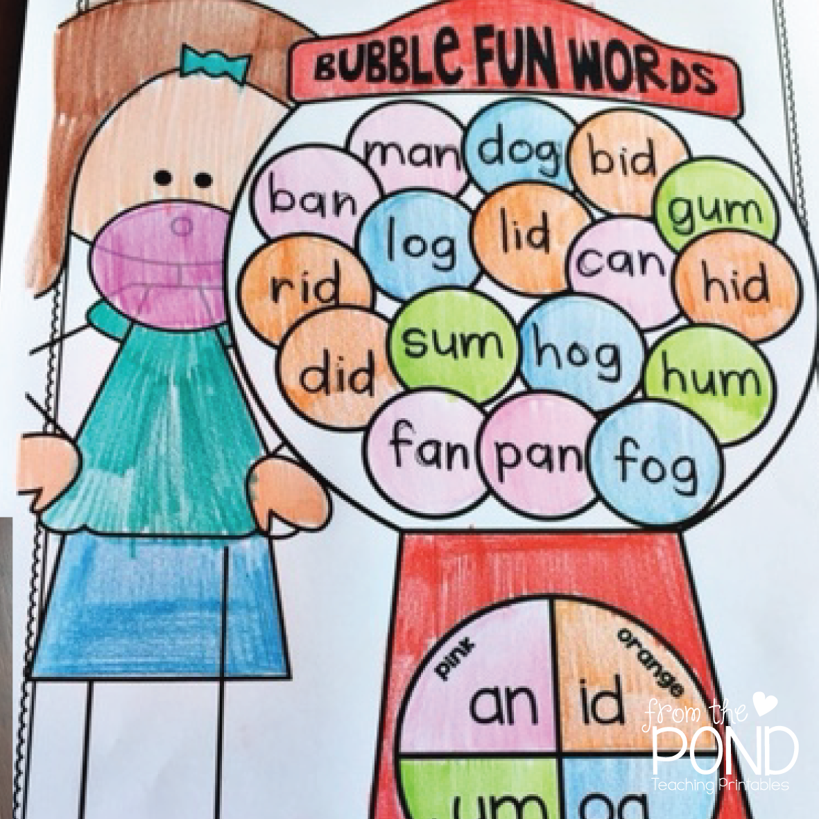 worksheet Cvc Word Worksheets cvc words worksheets bubblegum style from the pond this bubble fun packet will help your students read and write become familiar with word families