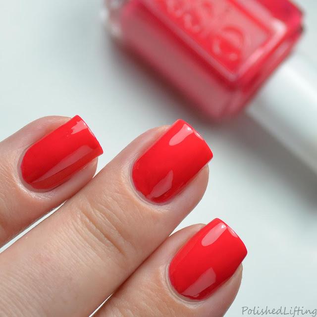 bright red coral nail polish