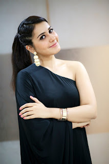 Rashi Khanna in a Strange Single Shoulder Black Gown Spicy Pics