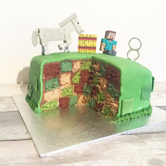 surprise inside minecraft birthday cake