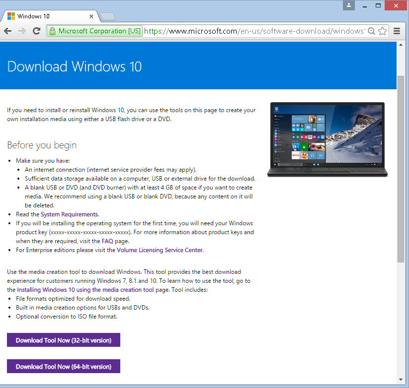 Download Media Creation Tool per Windows 10