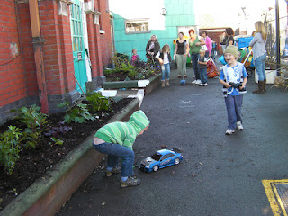 remote controlled cars in the playground