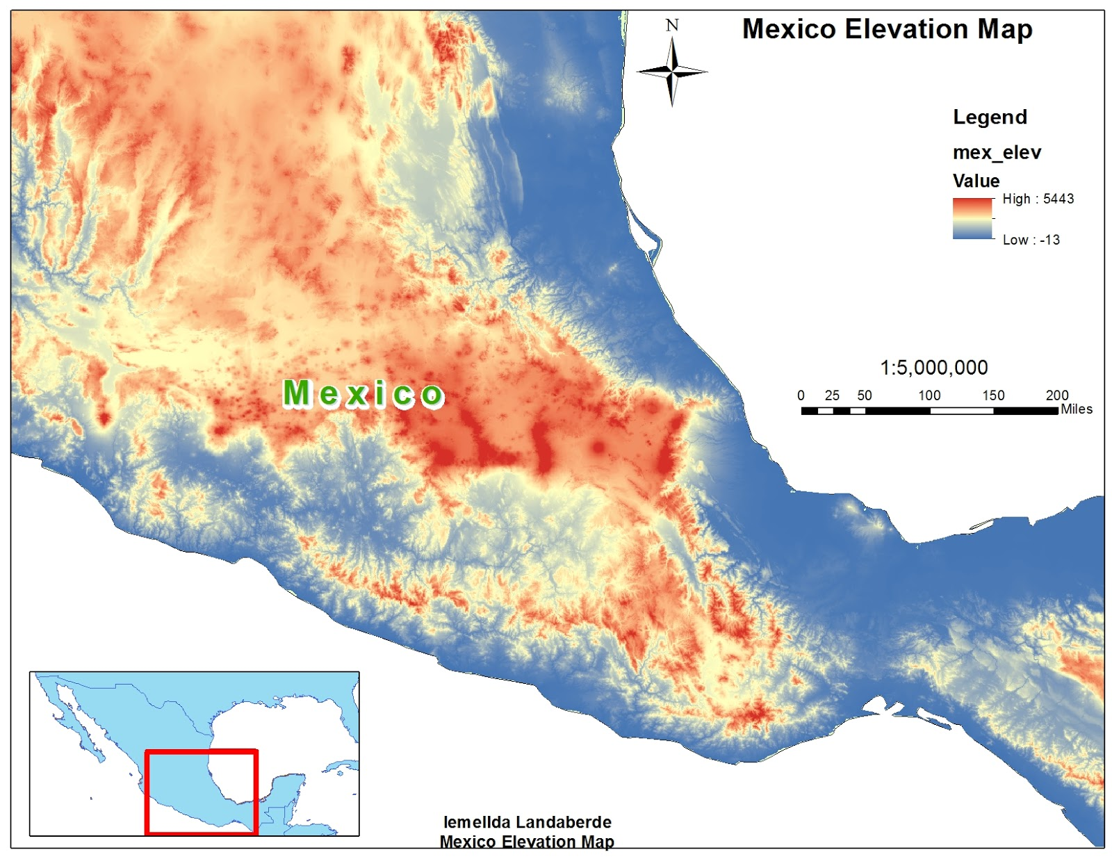 the map above represents the elevation of mexico this map involved only the elevation layer which used the stretch symbology a color was chosen to depict