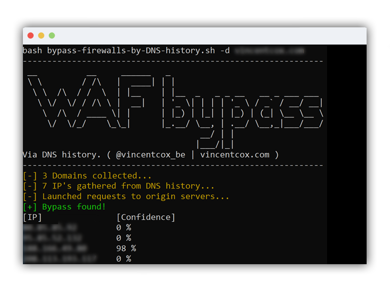 bypass-firewalls-by-DNS-history - Firewall Bypass Script Based On DNS History Records