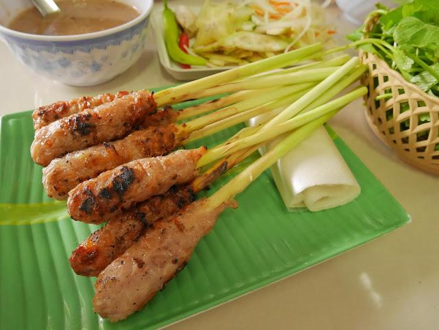 Nem lui or pork skewered on lemongrass, Hue
