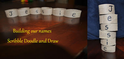 Learn to write your name activity by building your name with toilet roll tubes
