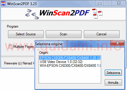 WinScan2PDF interfaccia grafica