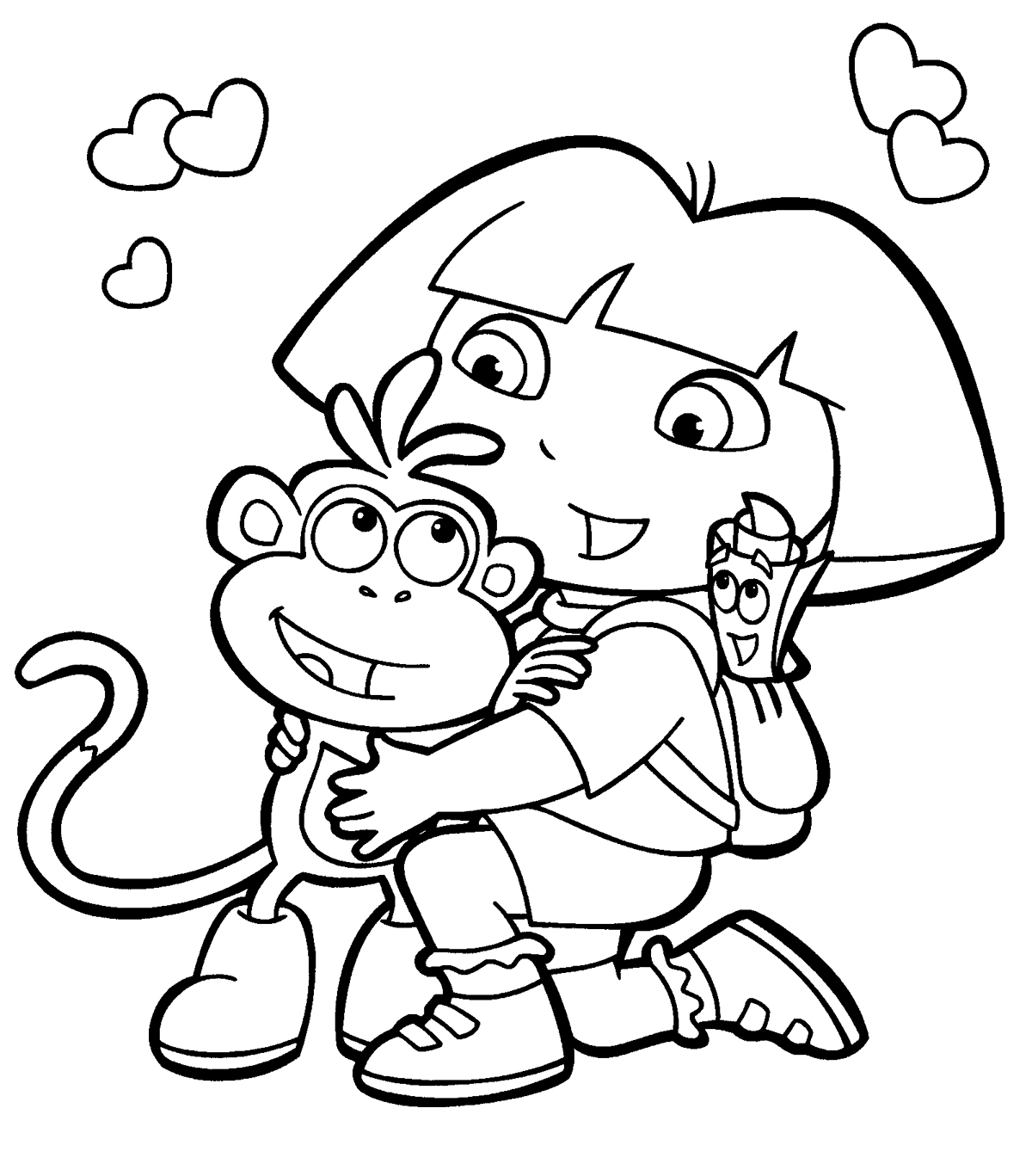 Adventure dora and boots coloring pages for Dora the explorer coloring pages to print