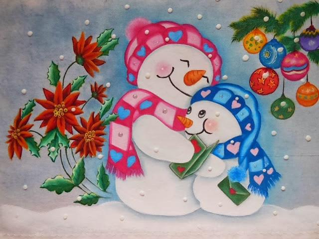 pintura em tecido boneco de neve