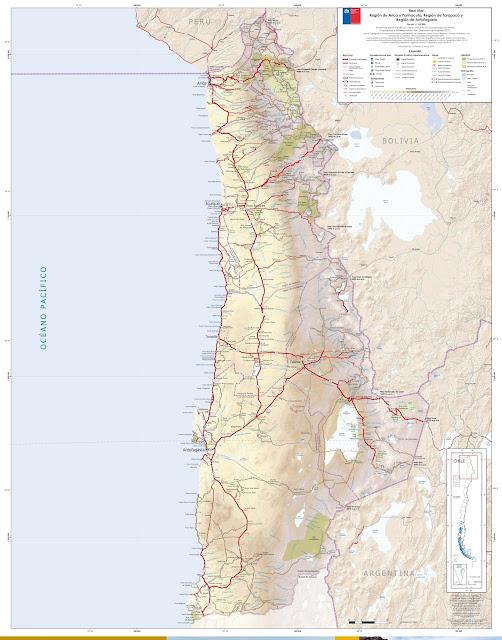 Mapa rodoviário do Norte do Chile - região de Parinacota-Tarapaca-Antofagasta