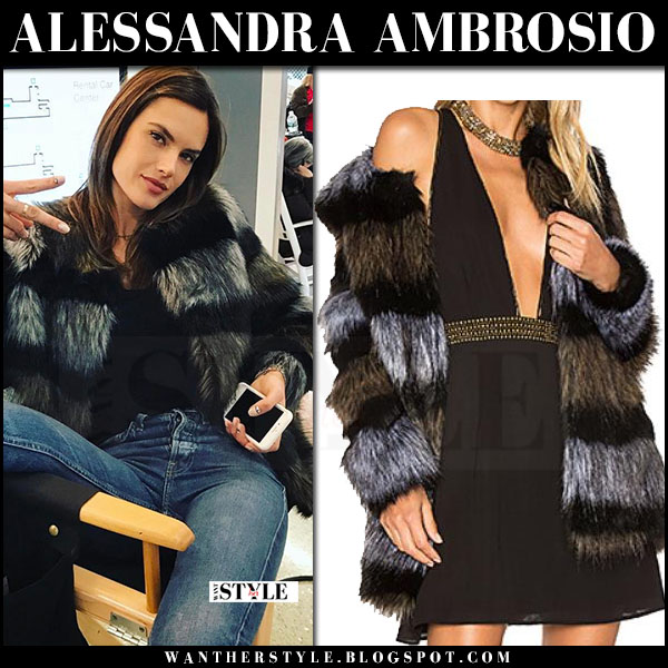 Alessandra Ambrosio in grey striped faux fur coat ale by alessandra x revolve what she wore april 2017