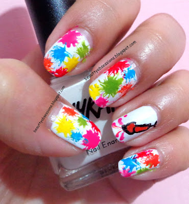 Colourful Splatters on Nails...- Tutorial !!