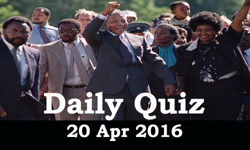 Daily Current Affairs Quiz - 20 Apr 2016