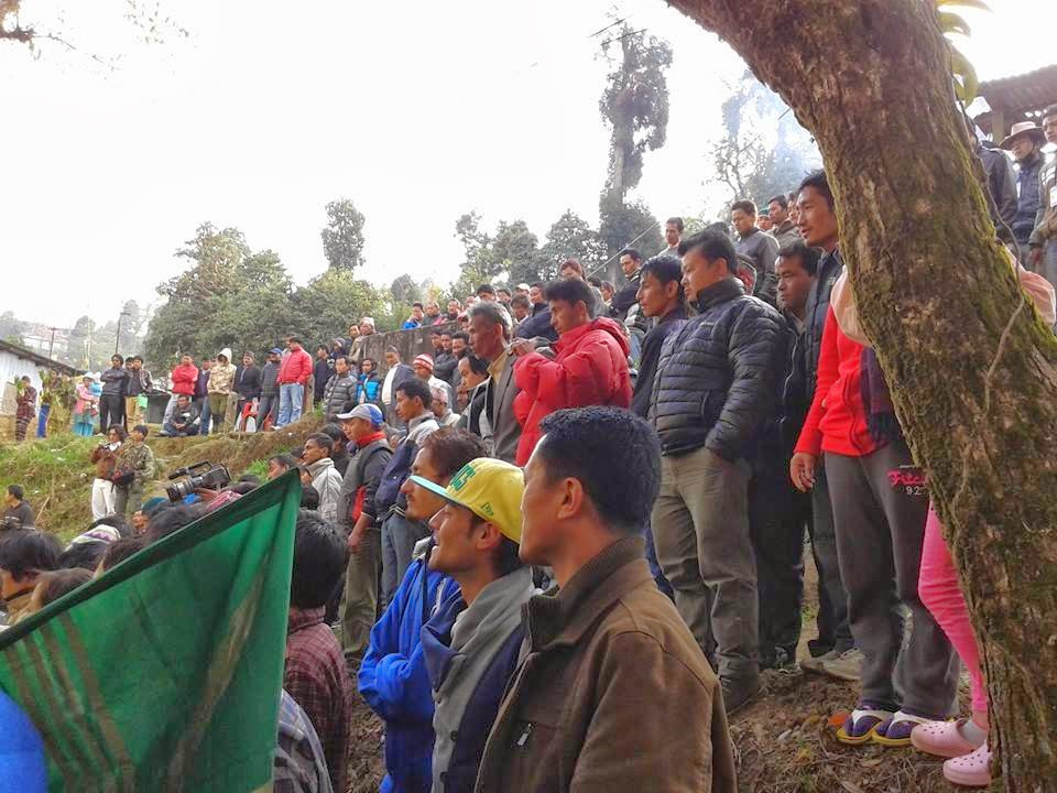 People gathered to welcome ghishing around his residence in Darjeeling