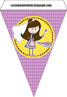 Bride Cooking in Yellow and Purple Free Printable Banner.