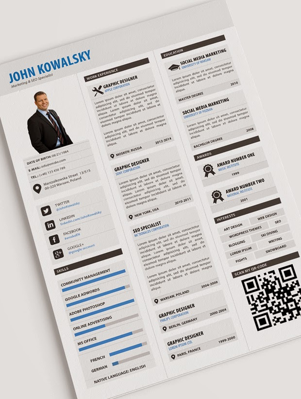 Professional Resume Template PSD