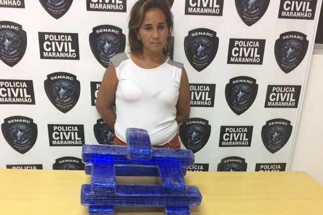 Mulher é presa com 10 kg de maconha embalada para presente no Maranhão