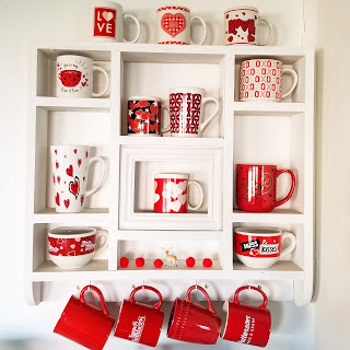 refabulous thrift score shelf repurposed into coffee station, valentine's day theme, coffee mug shelf