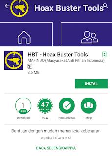Aplikasi Hoax Buster Tools penangkal MCA dan saracen blog pojok asyik