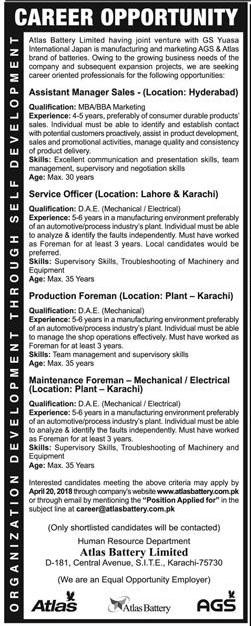 Altas Battery LTD is providing Career Opportuniti