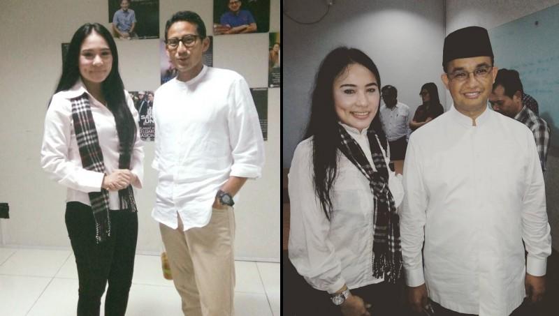 Rita Tiara Panggabean berfoto bersama Anies dan Sandiaga Uno