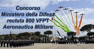 Concorso Ministero della Difesa per volontari da assegnare all'Aeronautica Militare