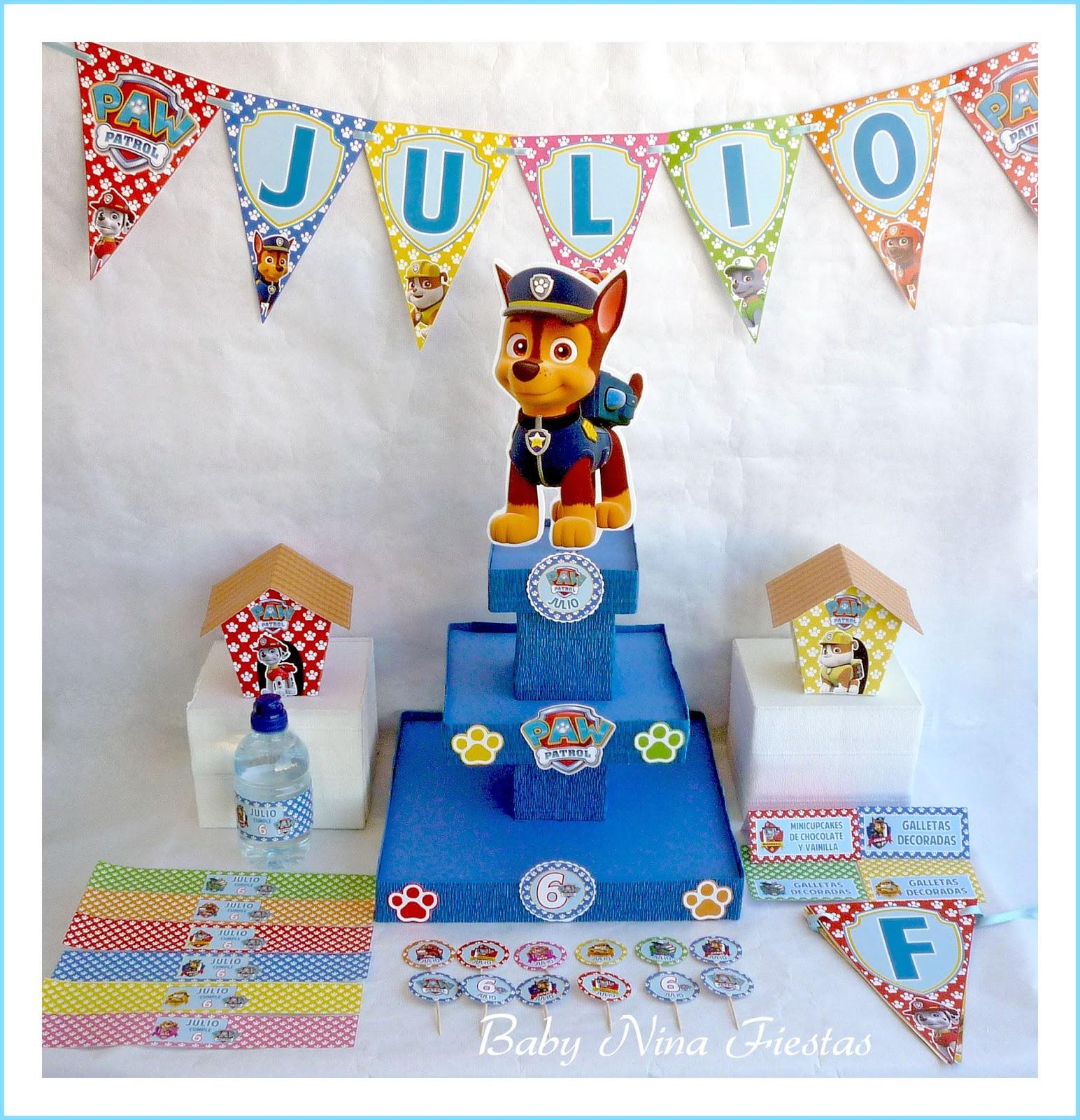 Baby nina fiestas mesa dulce patrulla canina para julio - Decoracion de cumpleanos de la patrulla canina ...