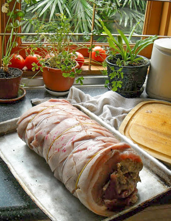 Food Lust People Love: Double Pork Stuffed Pork Roast is pork belly with crackling, stuffed with two pork tenderloins and sausage stuffing made with ground pork and Italian sausage.