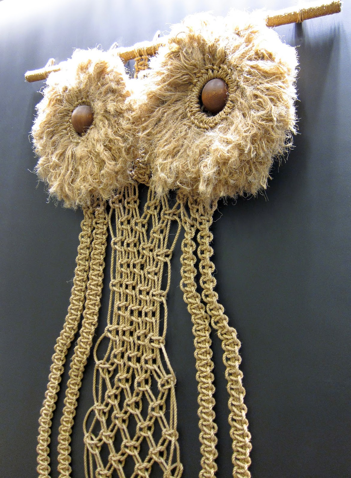 Macrame Owl at J. Crew in SOHO by Scott Beale / Laughing Squid