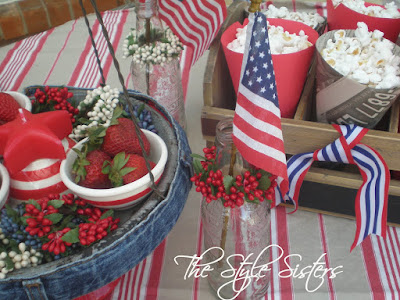 all american table decor in red white and blue