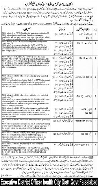Specialist Doctors Jobs in Health Department Faisalabad Jobs 2016