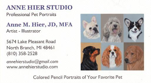 Pet Portrait Artists THE BUSINESS CARD