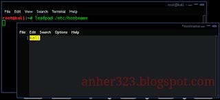 leafpad /etc/hostname