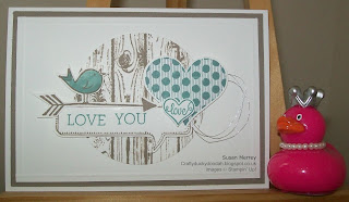 Stampin' Up! Made by Susan Merrey Independent Stampin' Up! Demonstrator, Craftyduckydoodah!, Groovy Love, Hardwood, Crazy About You, Hello Love, You Brighten My Day, August 2015,