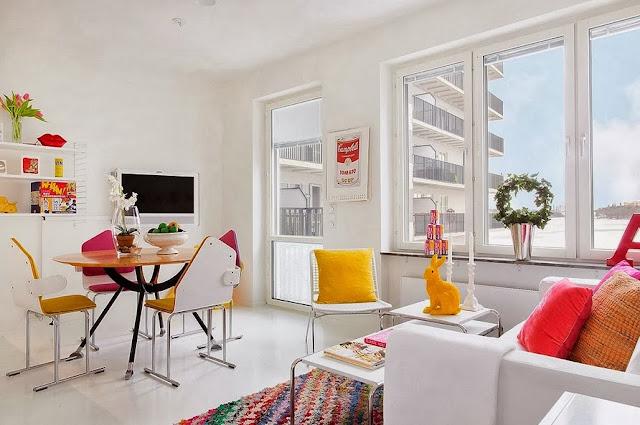 Mickey House: pequeno apartamento colorido e clean. Blog Achados de Decoração