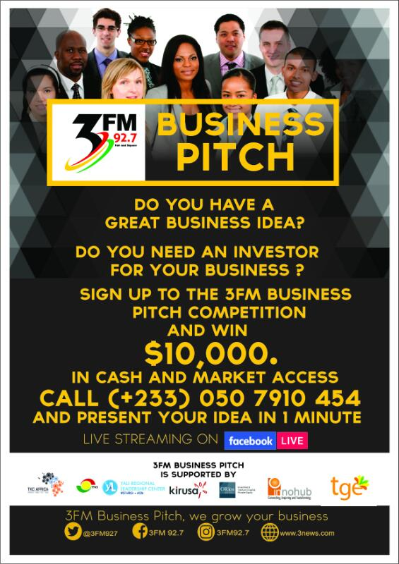3FM Business Pitch in Partnership with 3FM, TKC AFRICA, TV3 and YALI West Africa