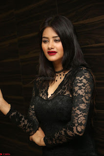 Actress Monica in spicy transparent Black Top at O Pilla Nee Valla Movie Audio Launch Feb 2017 057.JPG