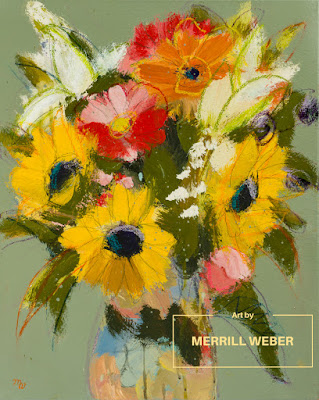 Merrill Weber original joy-filled mixed media floral painting