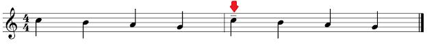 Primer compás: 4 negras sin tenutos y segundo compás: idéntico con un tenuto en la primera negra