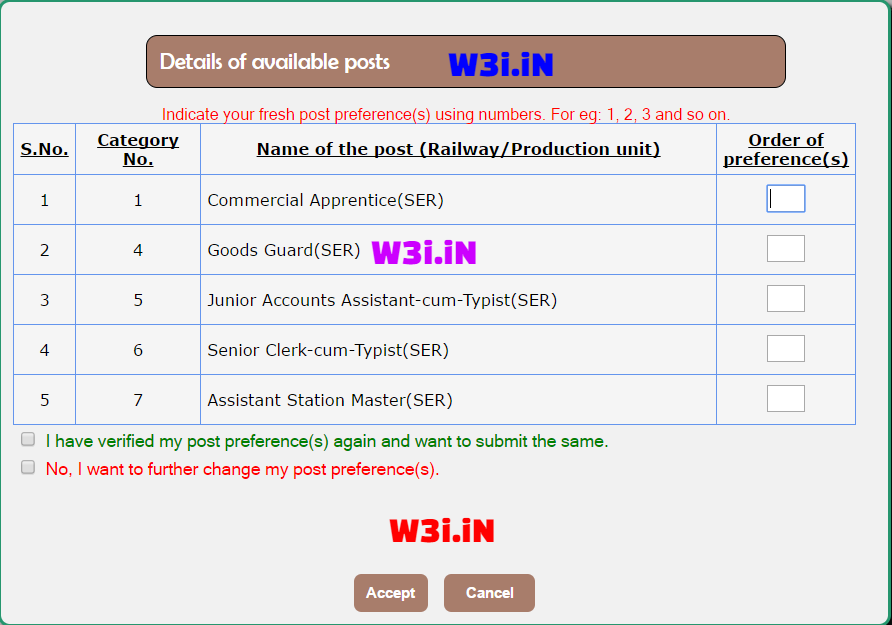 Change RRB NTPC Post Preference, Fill RRB NTPC Post Preference, Railway ASM Post Preference order