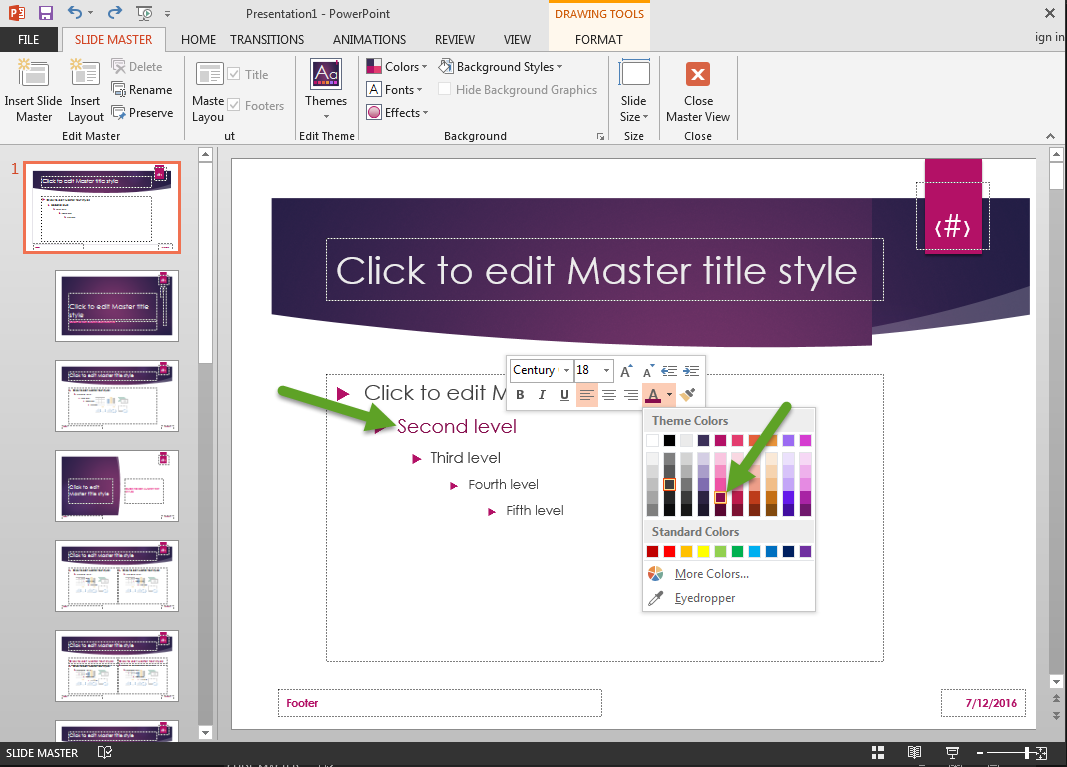 Eyonic systems how to singularly customize all powerpoint slides continue making changes to slide templates until all formatting appears as desired when all changes have been made click the close master view button in toneelgroepblik Gallery