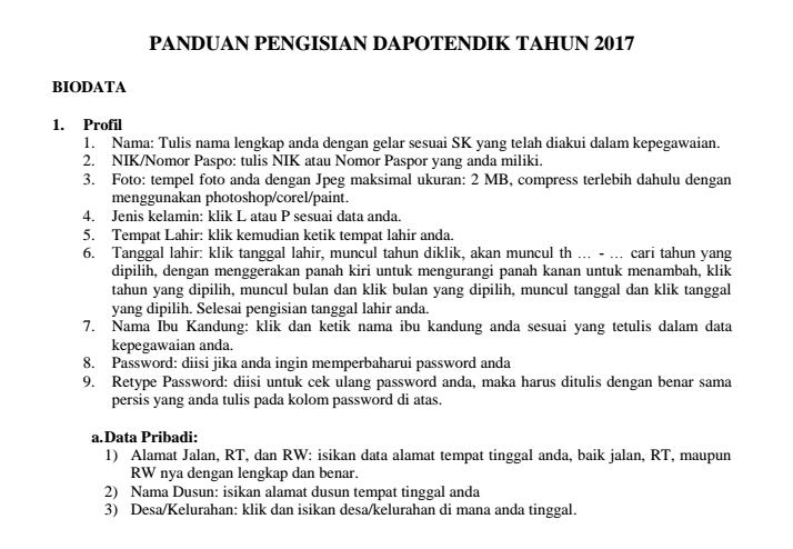 Pengisian Dapotendik 2017