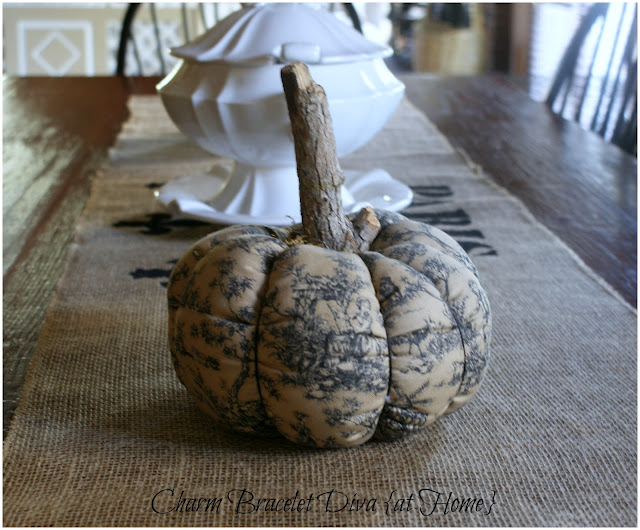 toile pumpkin farmhouse table stencilled burlap table runner