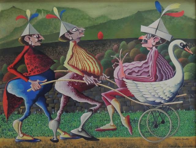 Rovira Brull pintura surrealista locura personajes sombreros