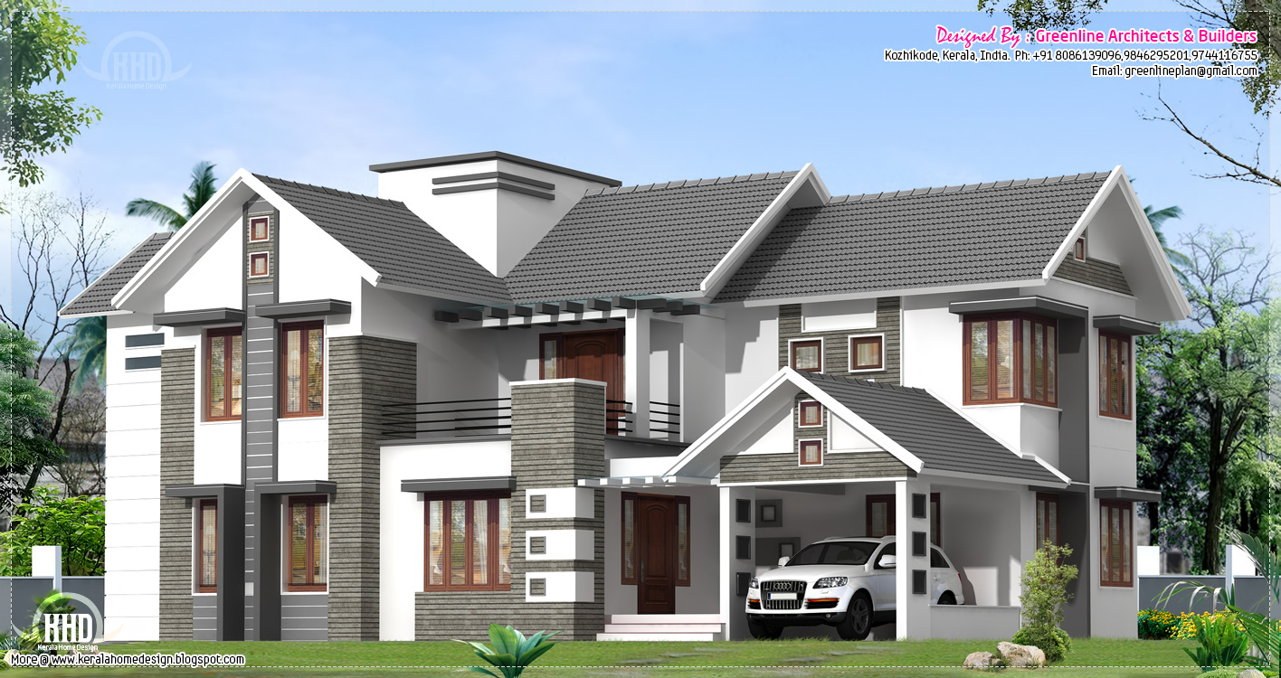 Villa exterior elevation kerala home design and floor plans for House outside design in india