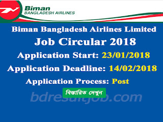 Biman Bangladesh Airlines Limited job circular 2018