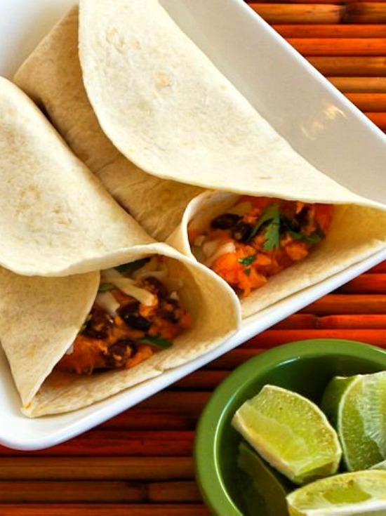 Slow Cooker Vegetarian Sweet Potato and Black Bean Burritos with Lime found on KalynsKitchen.com