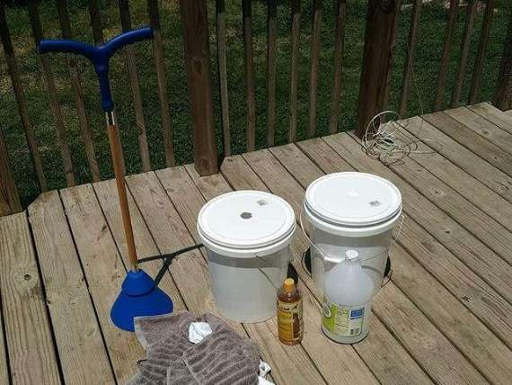 ball clothes washer and 5 gallon buckets ready to do laundry