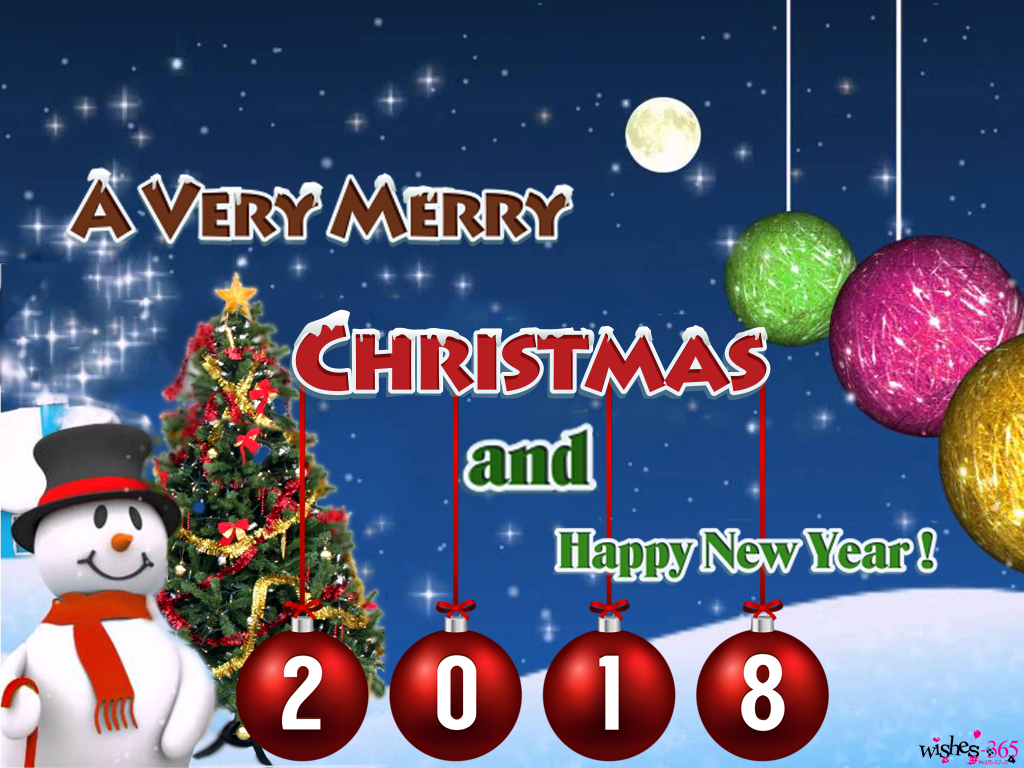 merry christmas tree and happy new year 2018 with blue background
