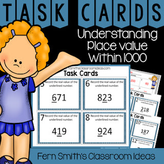 2nd Grade Go Math 2.5 Understanding Place Value Within 1,000 Task Cards Only